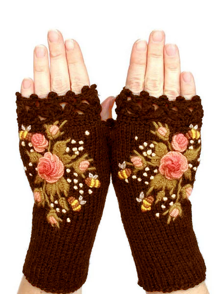 Black Cotton-Blend Casual Gloves & Mittens