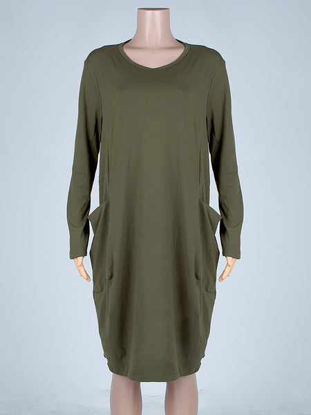 Paneled Elegant Crew Neck Casual Dress