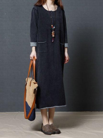 Fashhion Long Sleeve Women Loose Linen Cotton Casual Dress