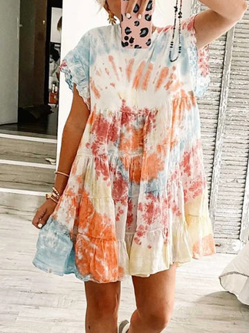 Color-Block Patchwork Cotton Batwing Dresses