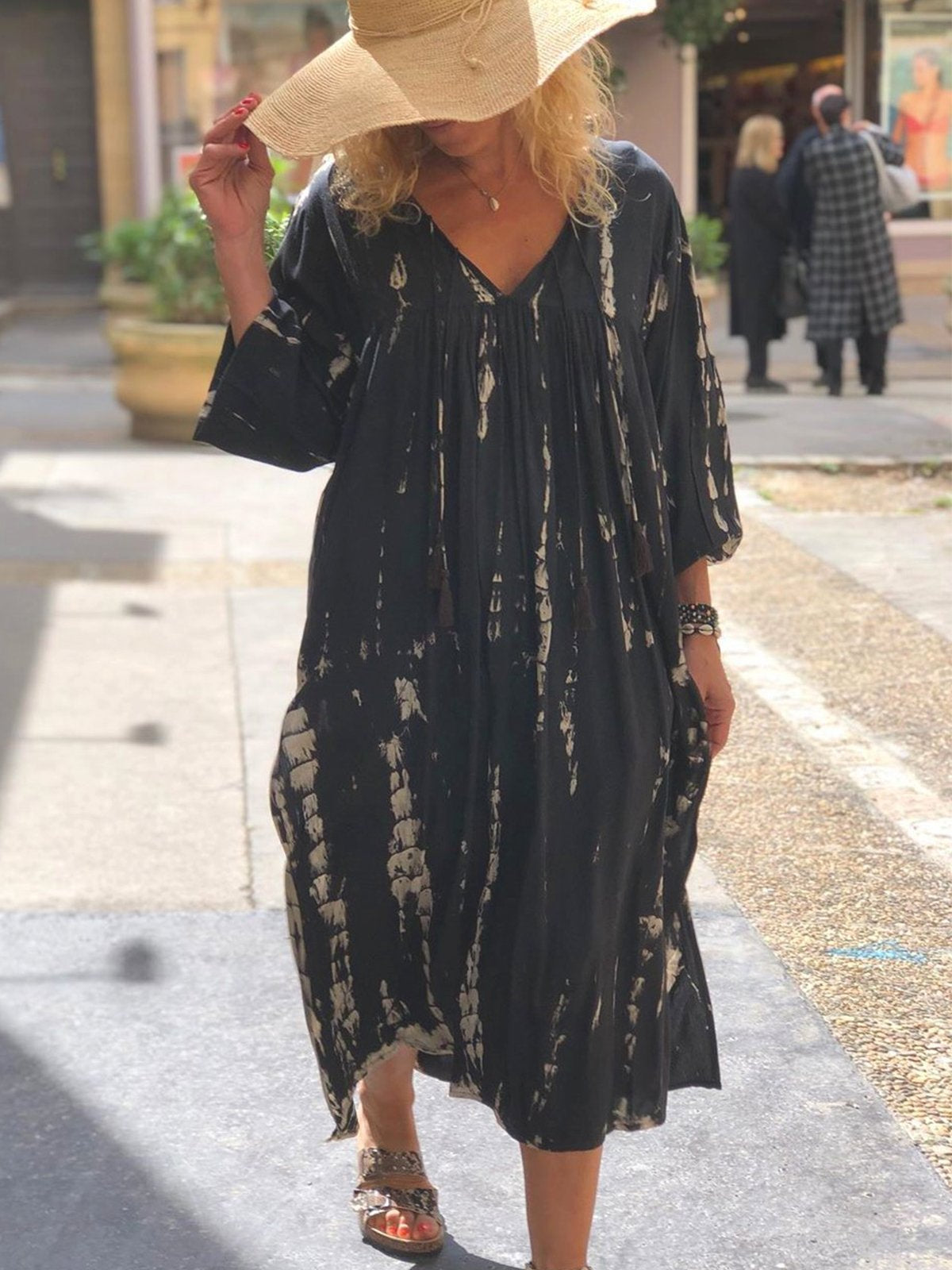 Women plus size half sleeve cotton casual boho dresses
