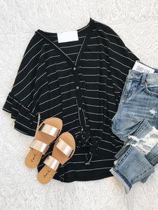 V-neck Striped Printed Casual T-Shirt