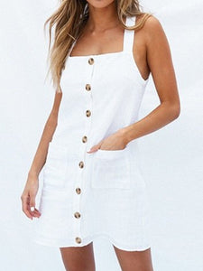Summer Dresses Square Neck Spaghetti-Strap Pockets Sweet Dresses