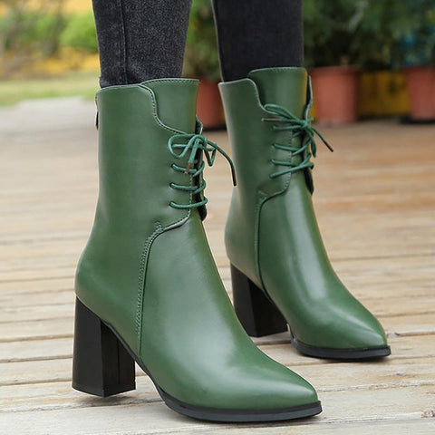 Women Lace-up Spring/Fall Chunky Heel Daily PU Boots