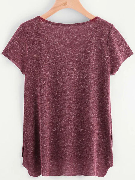 Short Sleeve Cotton-Blend V Neck Shirts & Tops