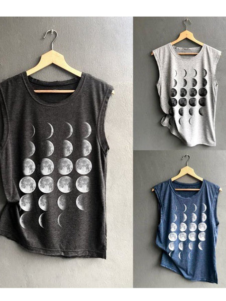 Casual Cotton-Blend Sleeveless Printed Shirts & Tops