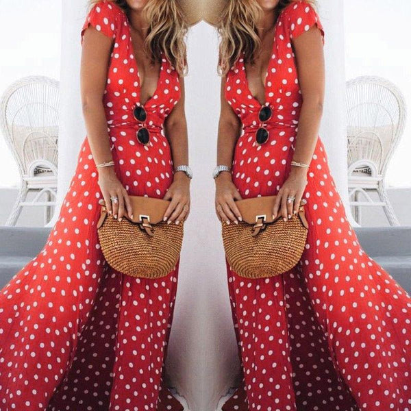 Women Sexy Deep V Neck Polka Dot Boho Maxi Skirts