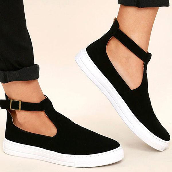 Women Spring Ankle Boots Cut Out Strap Buckle Flats