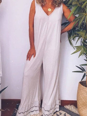 White Cotton Sleeveless Casual Daily Jumpsuit