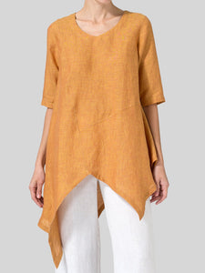 Linen Short Sleeve Solid Casual Tops