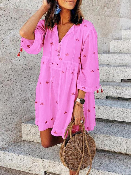 Plus Size Casual V Neck 3/4 Sleeve Printed Dresses
