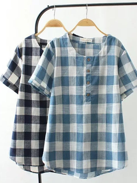 Short Sleeve Round Neck Casual Shirts & Tops
