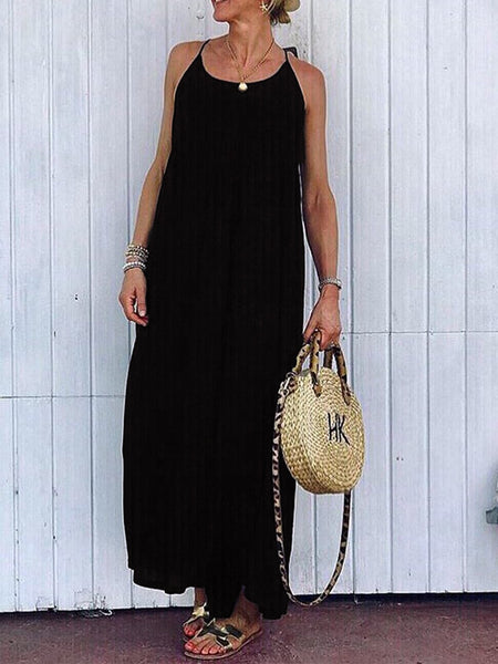 Solid Round Neck Sleeveless Dresses