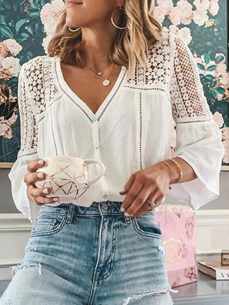 White Casual V Neck 3/4 Sleeve Shift Shirts & Tops