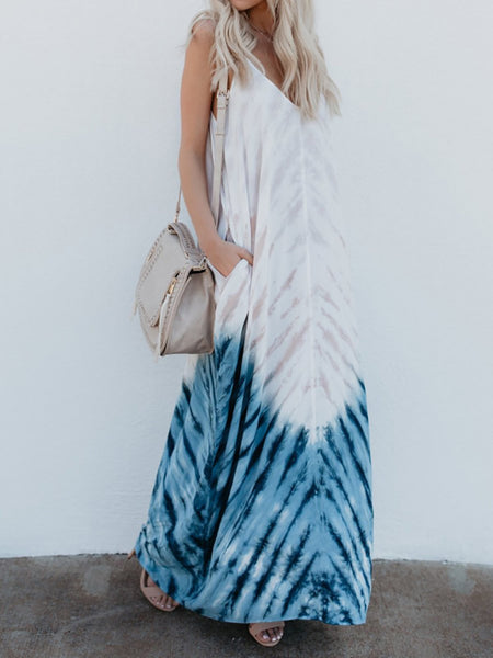White Swing V-Neck Casual Maxi Dress