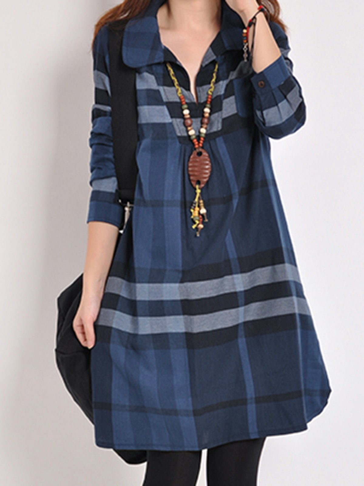 Blue Shirt Collar Checkered/Plaid Long Sleeve Casual Dress