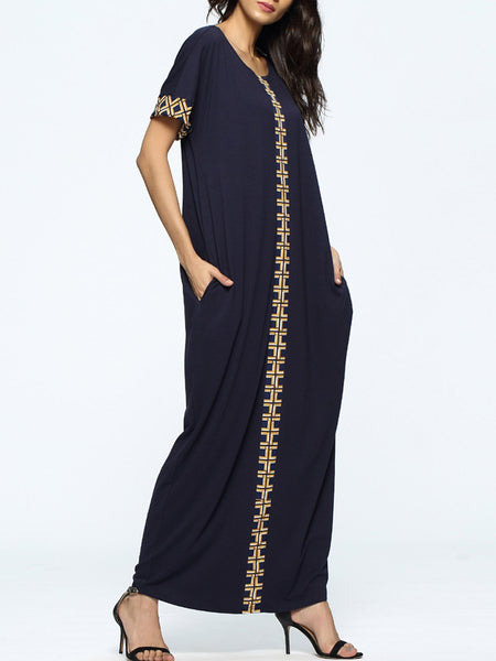 Navy Blue Tribal Crew Neck Casual Pockets Dress