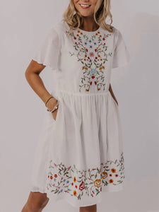 Floral-Print Casual Cotton Dresses
