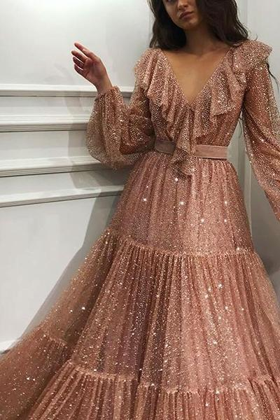 Fashion Sexy V Neck Sequins Evening Party Maxi Dresses
