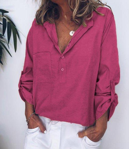 Women V Neck Cotton Linen Loose T Shirt Tops Tunic