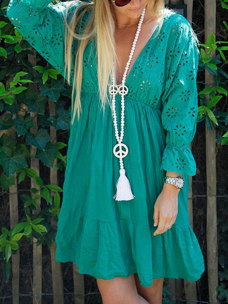V Neck Long Sleeve Dresses