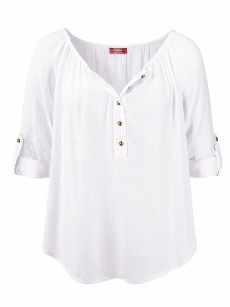 Solid Crew Neck Casual Blouses