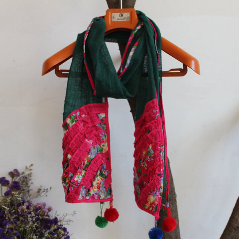 Scarf Scarf Embroidered Thin Cotton Shawl Retro