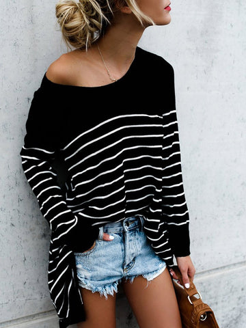 Cotton-blend Striped Casual Crew Neck T-Shirt