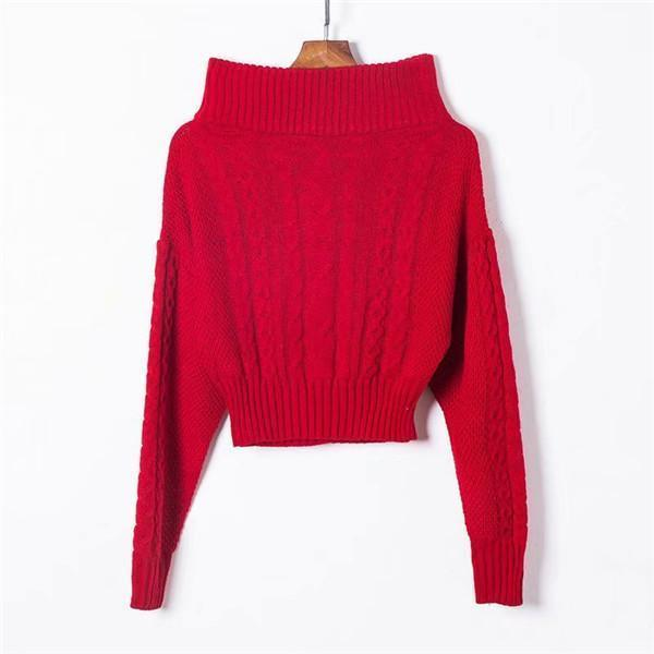 Sexy one word led off-the-shoulder solid color sweater