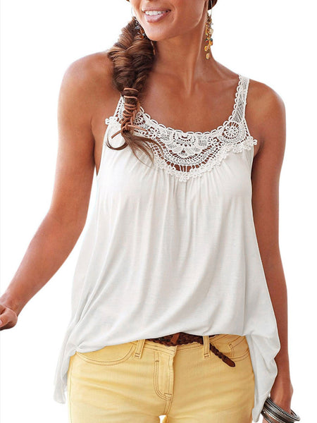 Sleeveless U-Neck Casual Tops