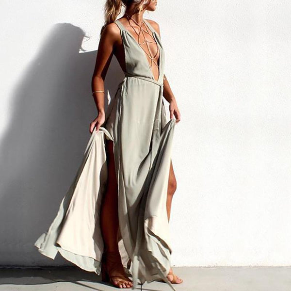 Sexy Deep V Beach Maxi Dress