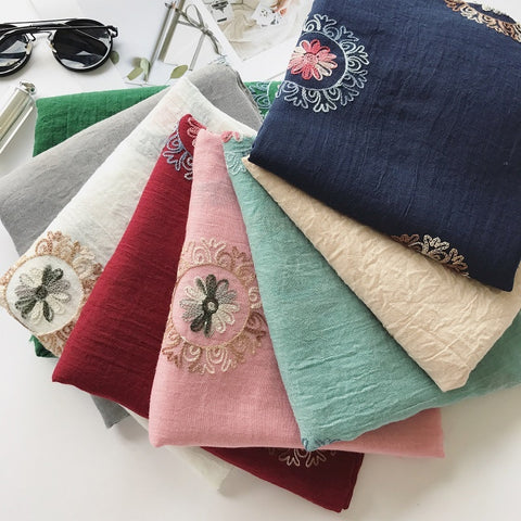 Embroidered Cotton Linen Scarf For Warmth And Comfort In Winter