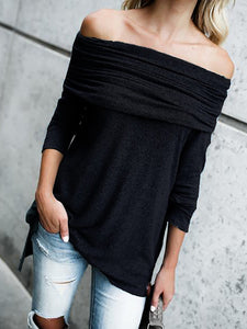 Cotton Long Sleeve Ruched Off Shoulder T-Shirt
