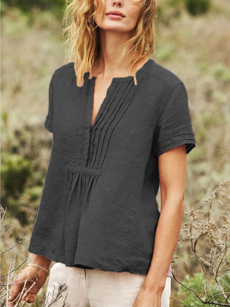 Cotton-Blend Short Sleeve Buttoned V Neck Shirts & Tops