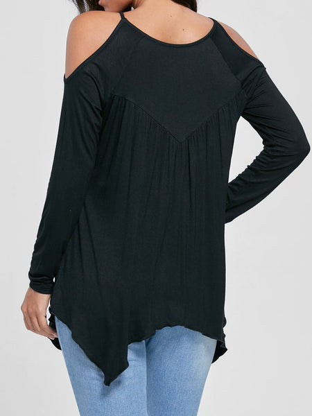 Sexy Off Shoulder Long Sleeve Cut-out Plain T-Shirt