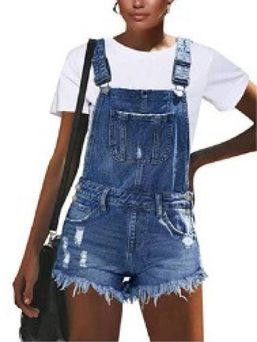 Ripped Statement Women Denim Rompers With Pockets