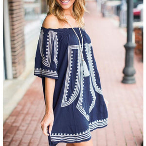 Off Shoulder  Print  Half Sleeve Dresses
