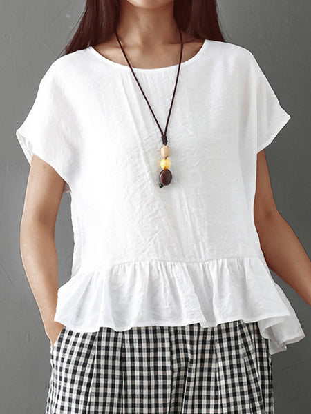 Plus Size Women Stitching Solid  Bat Sleeves Loose Cotton And Linen Casual Tops