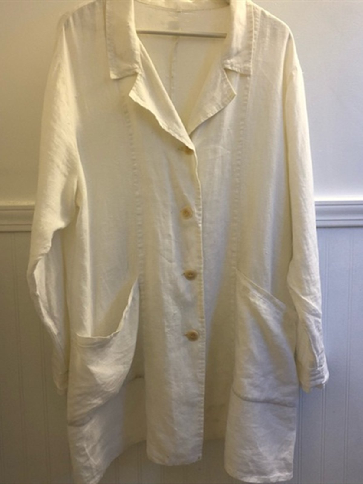 White Casual Shirt Collar Linen Shirts & Tops