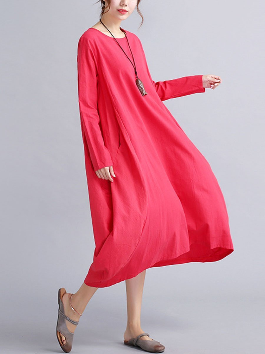 Oversized Round Neck Pocket  Plain Shift Plus Size Dress