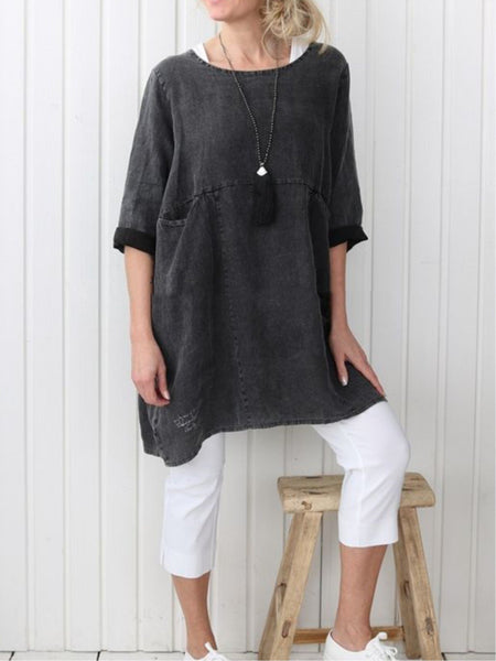 Plus Size Casual Plain Long Sleeve Linen Dress