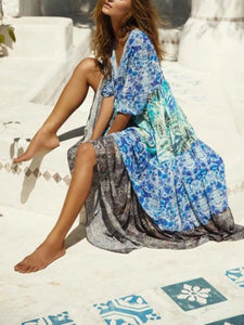 Blue Holiday Floral V Neck Maxi Dresses