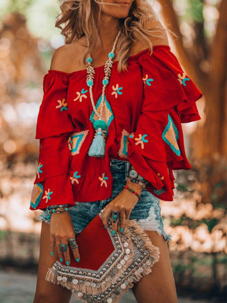 Red Floral-Print Sweet Off Shoulder Causal Tops