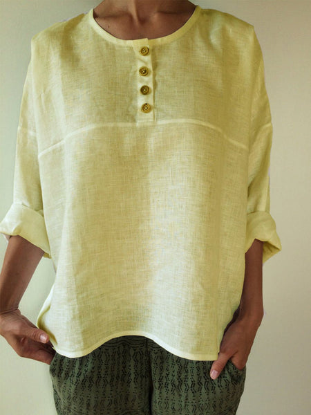 Linen Solid Long Sleeve Shirts & Tops