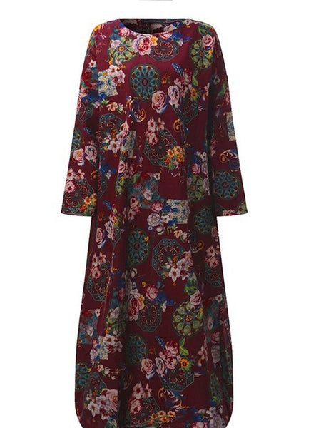 Crew Neck Long Sleeve Floral Printed Plus Size Dress