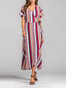 Rainbow Multicolor Stripes Beach Swing V-Neck Maxi Plus Size Dress