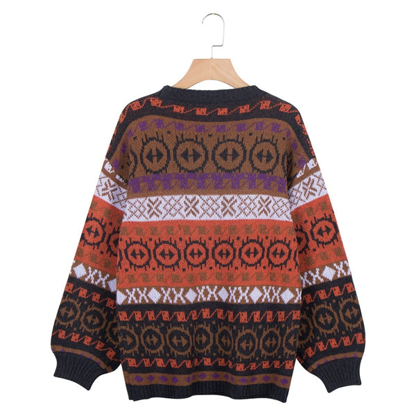 Autumn Winter Print Loose Batwing Sleeve Sweater Casual Shirt O-Neck Pullovers Striped Shirt Knitted Sweater