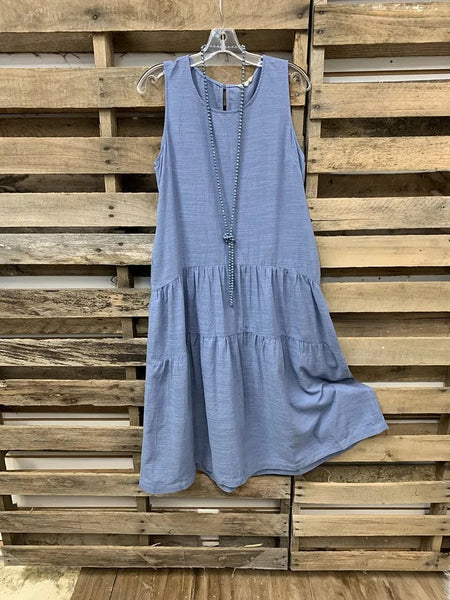 Blue Crew Neck Sleeveless Dresses