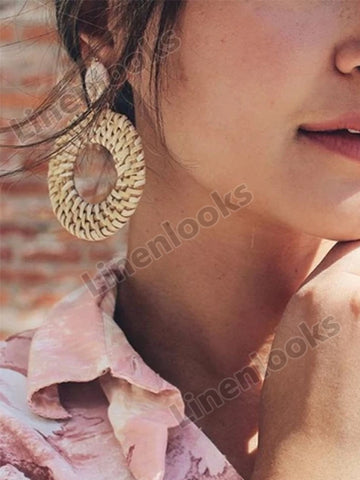 Bohemian Wicker Rattan Knit Pendant Handmade Wood Geometry Long Earrings