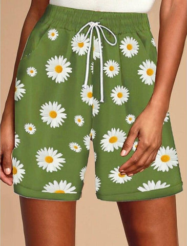 Bohemian Casual Sunflower Floral Printed Shorts Drawstring Short Femme Loose Shorts